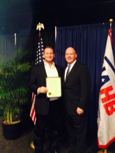 Mitch Schwartz receiving Life Director Certificate from NAHB in Las Vegas